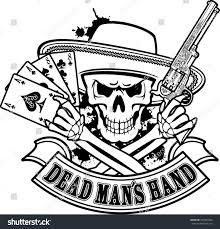 skull holding cards dead revolver stock vector 307943498