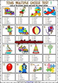 toys esl printable multiple choice tests for kids toys esl