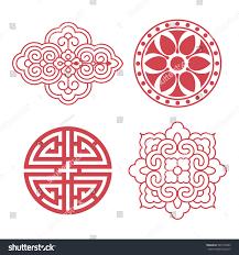 set vector korean traditional design elements stock vector