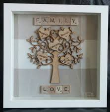 framed wooden family tree with names in hearts 23cm x 23cm
