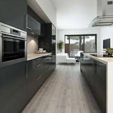 Kitchen Cabinets Modern Modern Gray Kitchen Features Dark Gray Flat Front Cabinets Paired