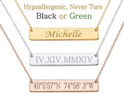 cheap monogram necklace bar necklace etsy