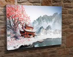 extra large canvas wall art picture print japanese winter garden