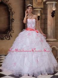 coral quince dress quinceanera dress white and coral cascading ruffles