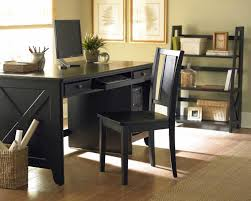 Rustic Wood Office Desk Black Polished Oak Wood Chair For Office Desk With Square And