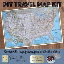 Usa Travel Map by Diy Push Pin Travel Map Kits Push Pin Travel Maps
