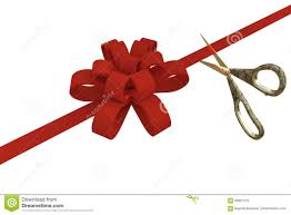 grand opening ribbon grand opening with scissors and a ribbon 3d stock image