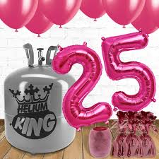 helium birthday balloons 25th birthday pink balloons and helium package partyrama co uk