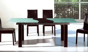 rectangular extending glass extendable frosted dining table modern