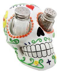 Day of The Dead White Sugar Skull Salt Pepper Shakers Holder