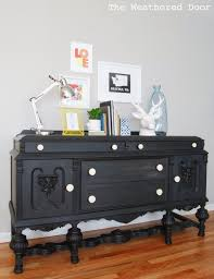How To Paint Furniture Black by Furniture Reveal Black Milk Paint Buffet The Weathered Door