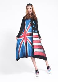 fashion england flag m hooded long sleeve women dress