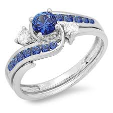 overstock wedding ring sets 10k white gold blue sapphire and white diamond swirl