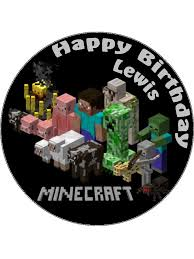 minecraft edible cake topper 7 5 minecraft personalised edible icing or wafer paper cake topper
