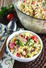 orzo bacon and charred corn salad with chili lime dressing eat