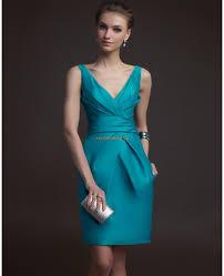 robe de mariã e bleu turquoise robe de cocktail courte 2014 satin drapé col v robe de cocktail