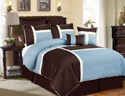 White Bed Set Queen Bedroom Queen Size Bed With Blue And Brown Comforter Using White