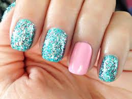 little mermaid blue teal silver pink glitter nail polish
