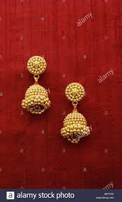 vda 62371 gold jewellery earring ornaments india stock photo