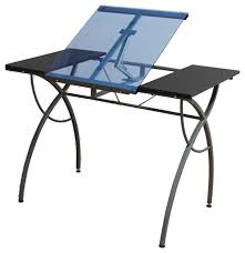 Contemporary Drafting Table Catalina Craft Table Pewter Blue Glass 29 5