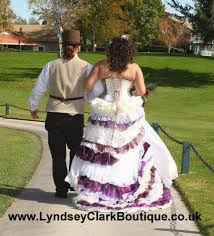 wedding dresses made to order steunk wedding dress ivory purple with bustle custom