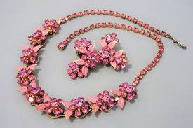 pink rhinestone necklace images Signed albert weiss new york pink rhinestone necklace clip on jpg