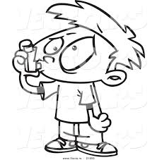 vector of a cartoon asthmatic boy using an inhaler outlined