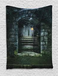 halloween scary haunted house gate of a haunted house halloween scary illustration print wall