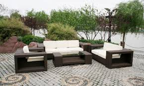 divine modern outdoor furniture displayed by red and orange