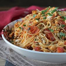 spicy angel hair pasta with halibut and tomatoes