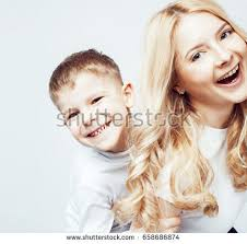 sister curls her brother hair young modern blond curly mother cute stock photo 649093540