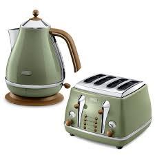 Toasters Delonghi De U0027longhi Icona Vintage 4 Slice Toaster And Kettle Bundle Olive