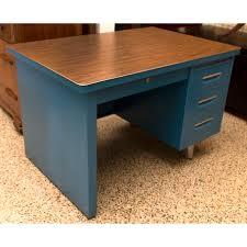 metal desk with laminate top vintage mid century metal desk in vibrant blue with a brown laminate