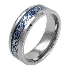 celtic dragon rings images Silver tungsten ring w silver celtic dragon on blue inlay jpg