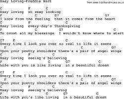 country easy loving freddie hart lyrics and chords