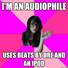 Audiophile Meme - i m an audiophile uses beats by dre and an ipod idiot nerd girl
