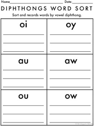 centers by design vowel diphthongs word sort by the designer teacher