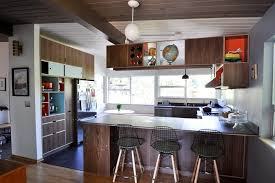 Mid Level Kitchen Cabinets by Mid Century Trilevel Remodel Kitchen Modern With Barstool