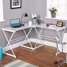 Best Desk L For Computer Work Home Corner Work Desk Office Computer Table White Glass Top Metal