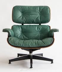 early special order green leather rosewood eames lounge chair and