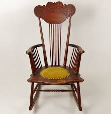 Wooden Rocking Chair Antique Wooden Rocking Chair With Padded Seat Ebth