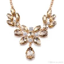 long crystal statement necklace images Wholesale wholesale femme trendy yellow crystal statement jpg