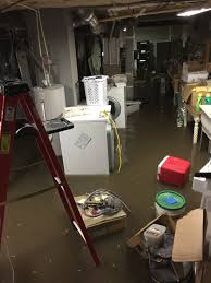 flooded basement water in basement cleanup service inside sewage