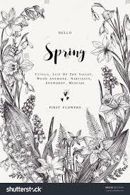 floral wreath spring flowers vector vintage stock vector 589732448