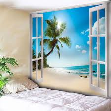 beach tapestry cheap casual style online free shipping at window beach print wall hanging microfiber tapestry