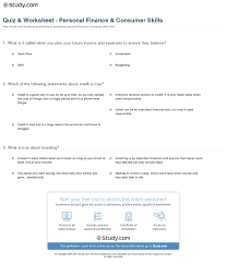 Financial Planning Worksheet Quiz U0026 Worksheet Personal Finance U0026 Consumer Skills Study Com