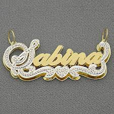 double plated necklace images Personalized jewelry double plate name pendant jpg