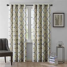 Livingroom Curtains Quatrefoil Yellow And Gray Living Room Curtain Decofurnish