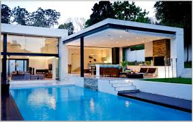 inspiring large long blue swimming pool house design on the side