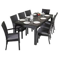 shop rst brands deco 9 piece charcoal gray patio dining set at